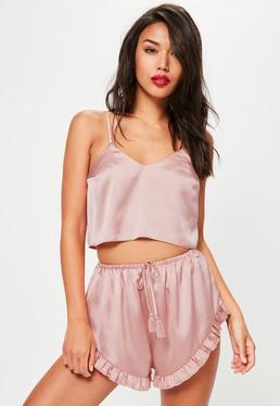 Pink Satin Cami&Shorts Pyjama Set