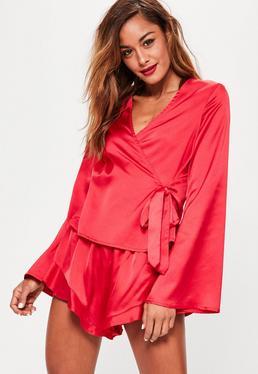 Ensemble pyjama rouge effet soyeux