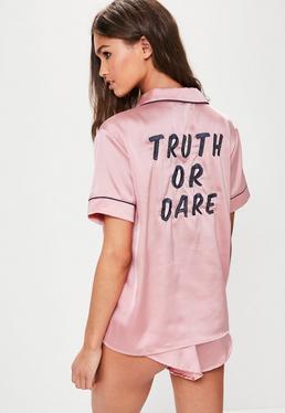 Pink Satin Embroidered Piped Pyjama Set