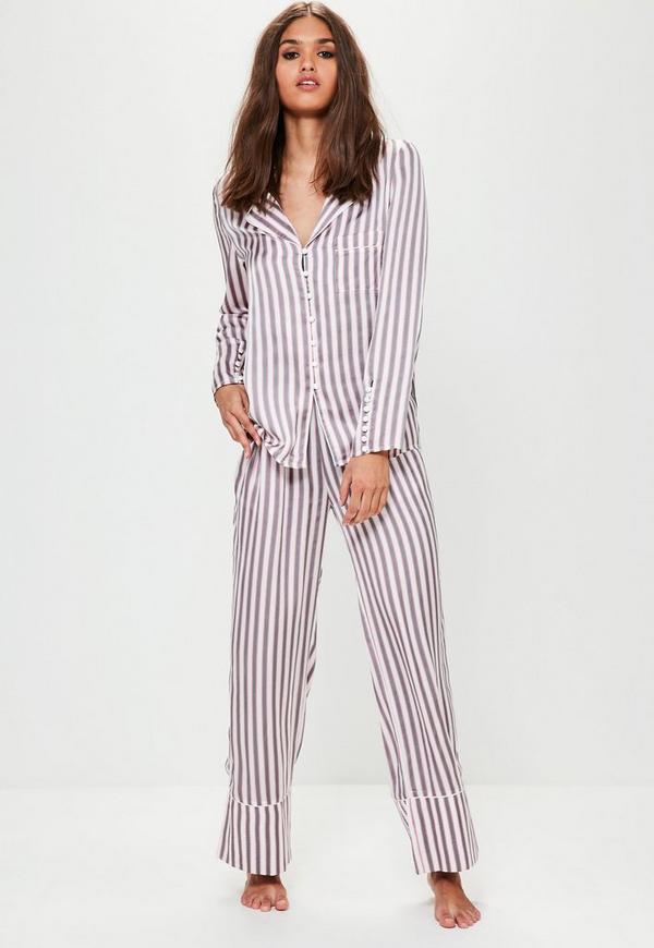Grey Striped Piped Pyjama Set