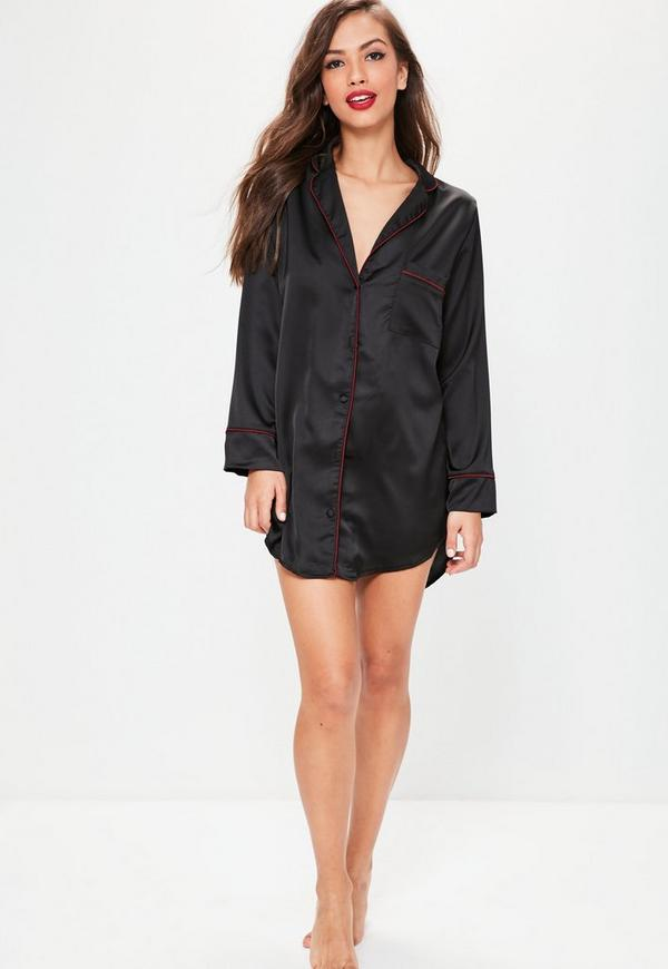 chemise de nuit noire en satin brod e missguided. Black Bedroom Furniture Sets. Home Design Ideas