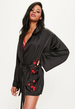 Black Satin Applique Detail Robe