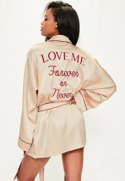 Nude Satin Piped Embroidered Slogan Robe