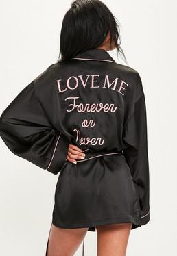 Black Satin Piped Embroidered Slogan Robe