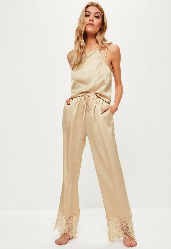 Gold Satin Lace Trim Pyjama Set