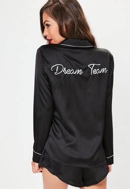 Black Satin Embroidered Pajama Set