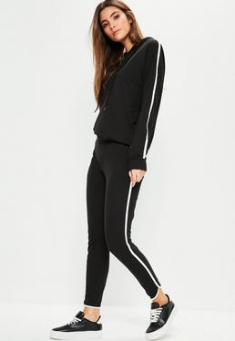 Czarny komplet z paskami po bokach bluza i spodnie dresowe joggersy