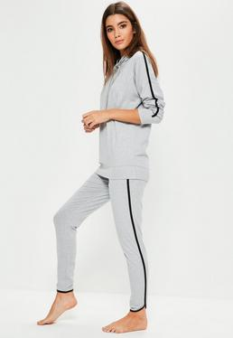 Szary komplet z paskami po bokach bluza i spodnie dresowe joggersy