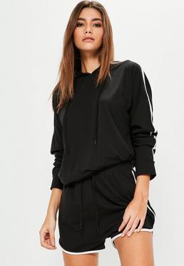 Czarny komplet dresowy z paskami po bokach bluza & krótkie spodenki