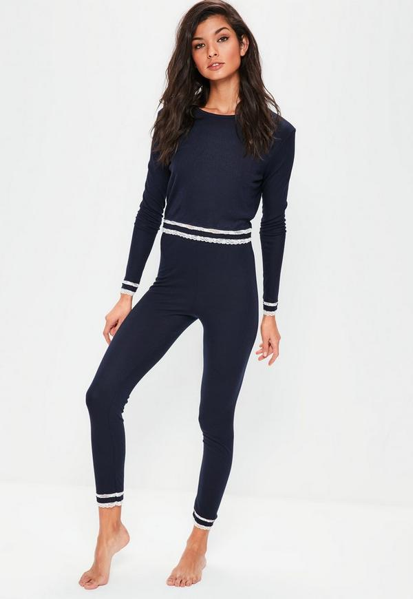 Navy Lace Hem Long Sleeve Ribbed Pyjama Set