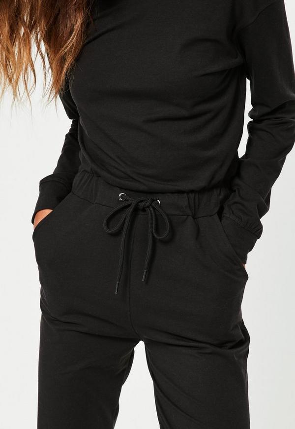 Black Casual Loungewear Jumpsuit Missguided