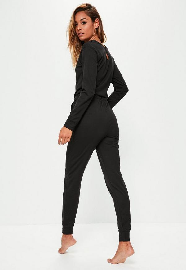 Black Casual Loungewear Jumpsuit | Missguided Ireland