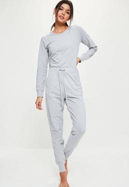 Grey Casual Loungewear Jumpsuit