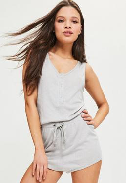 Grey Ribbed Cord Detail Playsuit