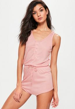 Pink Loungewear Ribbed Playsuit