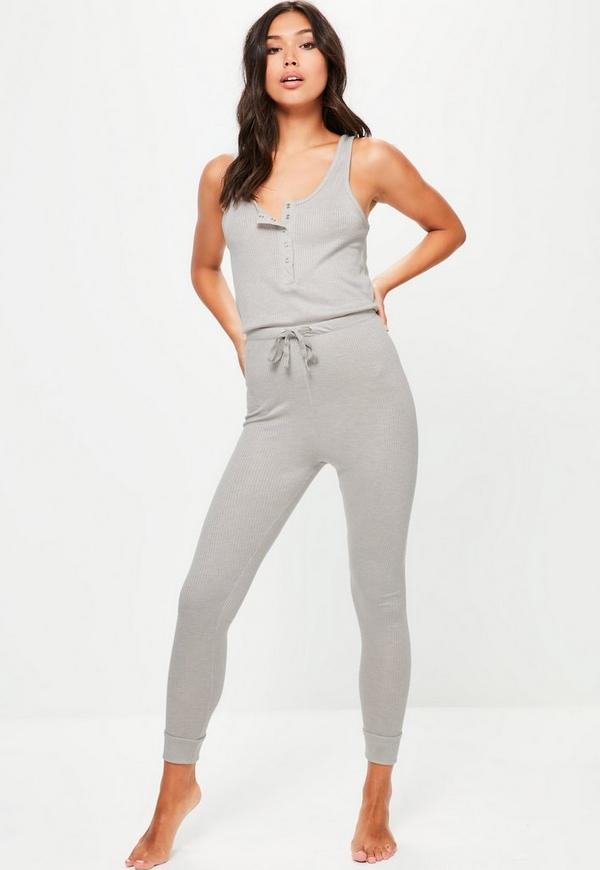 Grey Loungewear Ribbed Jumpsuit