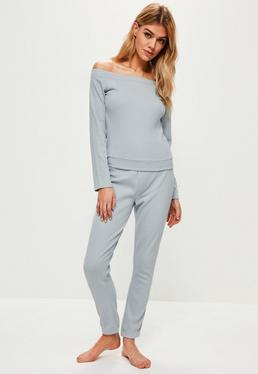 Blue Lounge Bardot Ribbed Tracksuit