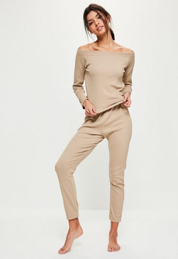 Brown Loungewear Bardot Ribbed Tracksuit
