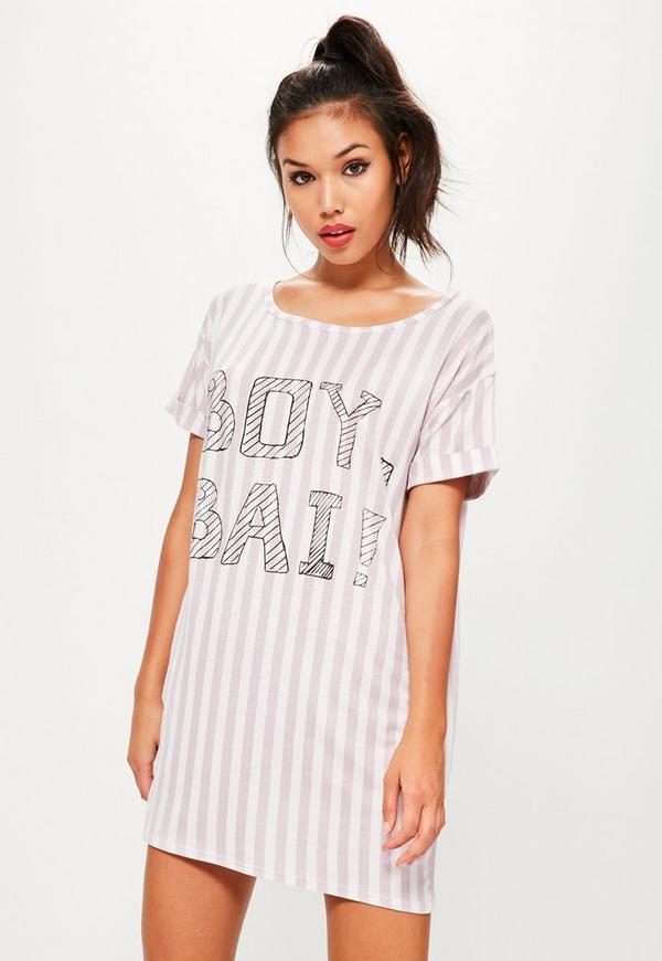 Pink Striped Printed Nightshirt