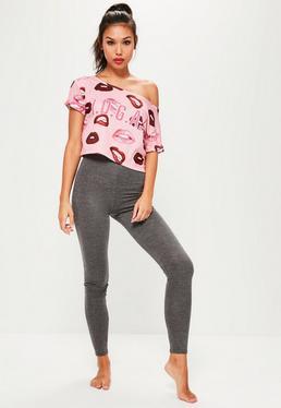 Pyjama Set In Grau und rosa mit Pink I.D.G.A.F. Druck
