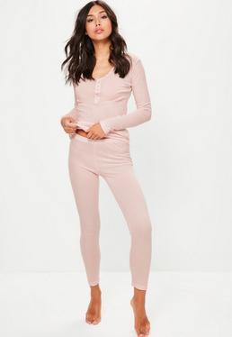 Różowy prążkowany top & leginsy piżama komplet