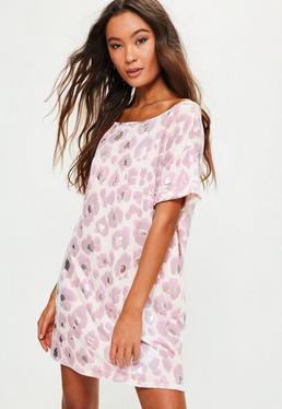 Chemise de nuit rose à imprimé animal