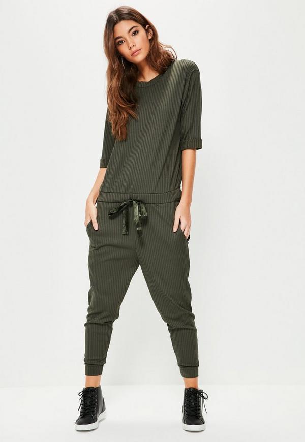 Khaki Ribbed Slouch Lounge Jumpsuit