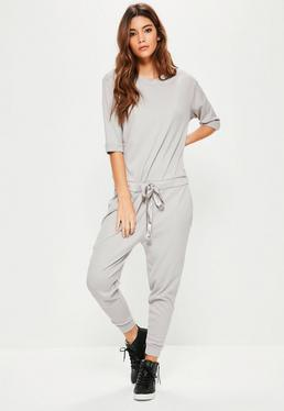 Grey Ribbed Slouch Lounge Jumpsuit