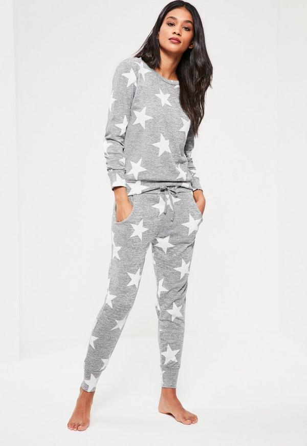 Grey Star Print Lounge Tracksuit
