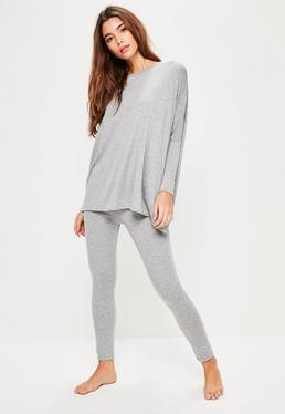 Grey Jersey Oversized Leggings Set