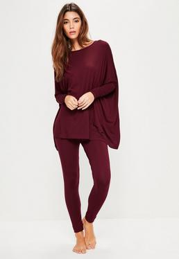 Burgundy Oversized Jersey Leggings Set