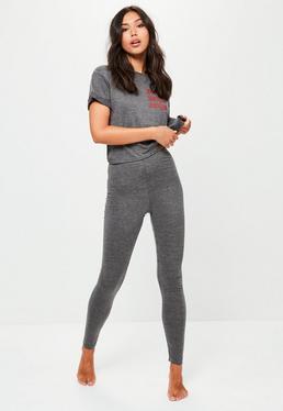 Szary komplet piżamowy z napisem top & leginsy
