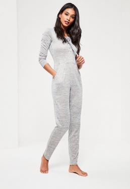 Grey Lace Up Jumpsuit