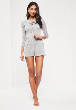 Grey Lace Up Romper