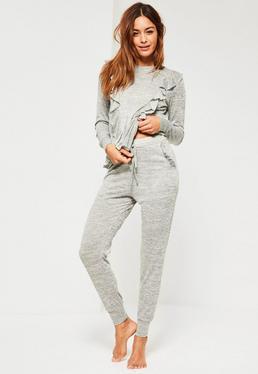 Ensemble pyjama gris à volants