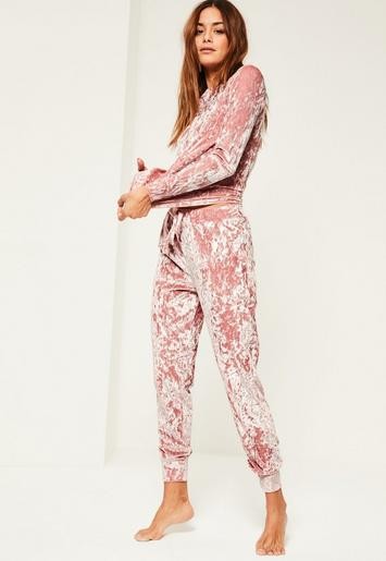 Pink Velvet Lounge Tracksuit Missguided