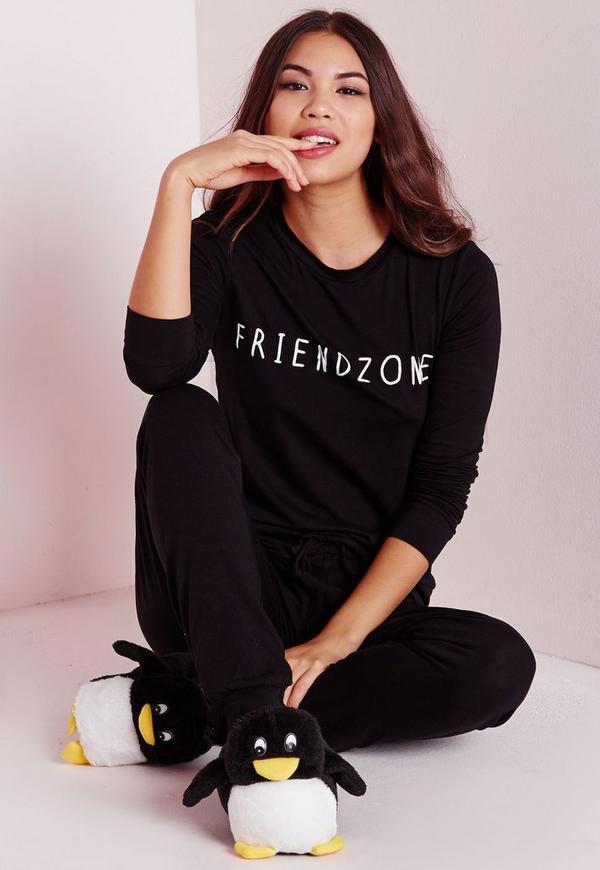 Friendzone Pyjama Set Black