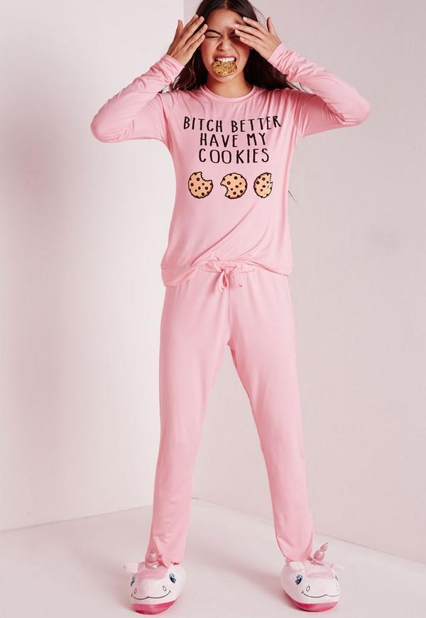 Slogan Cookies Pyjama Set Pink