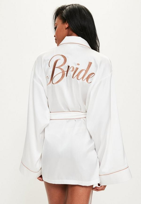 16b51b013de05 White Satin Embroidered Piped Dressing Gown