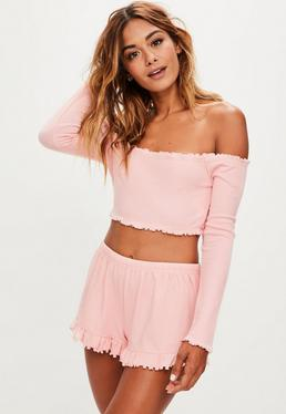 Pyjama rose crop top et short