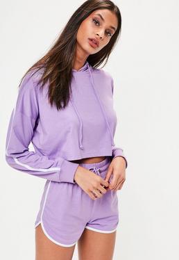 Pyjama mauve short et sweat à capuche