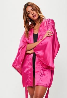 Pink Picot Trim Robe