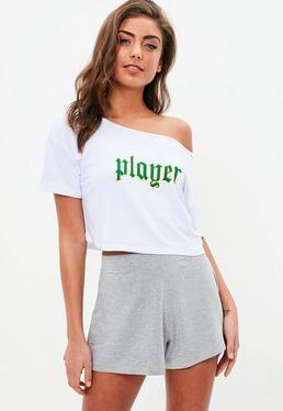 White Player Short Pajama Set