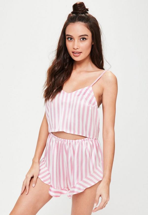 pink striped satin cami pajamas set missguided