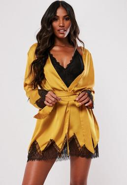 Gold Satin Lace Insert Robe