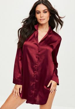 Burgundy Satin Night Shirt