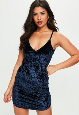 Navy Crushed Velvet Slip Night Dress