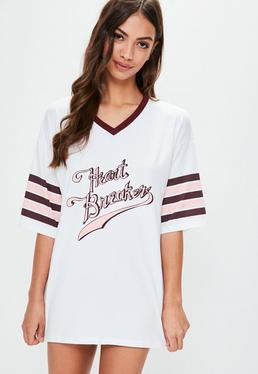 Camiseta con eslogan en blanco