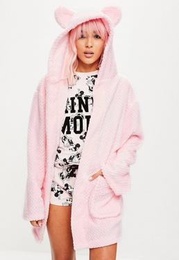 Light Pink Teddy Ear Fleece Robe