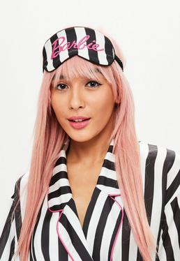 Barbie x Missguided Black Stripe Embroidered Sleep Mask